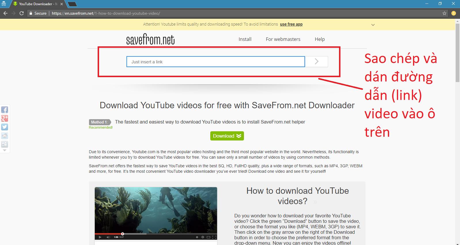 Cách 2: Truy cập trực tiếp trang web SaveFrom.net (Ảnh: sưu tầm)